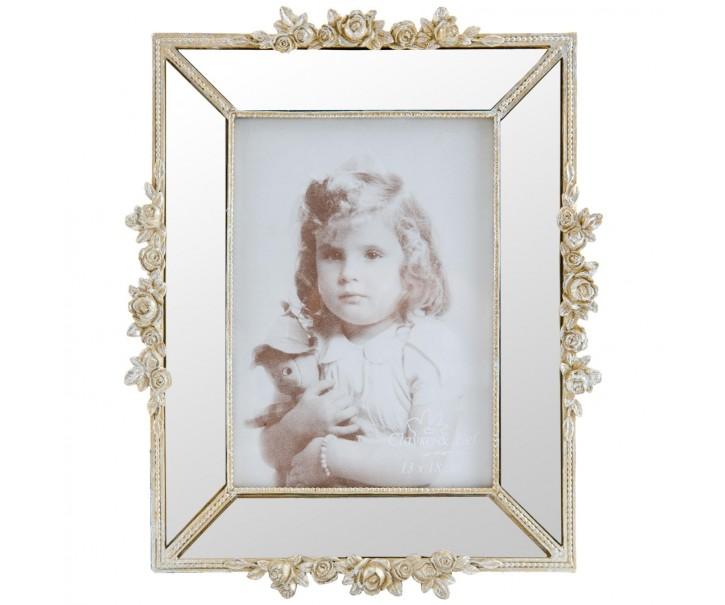 Fotorámeček s růžičkami a zrcátky - 21*3*26 cm / 13*18 cm