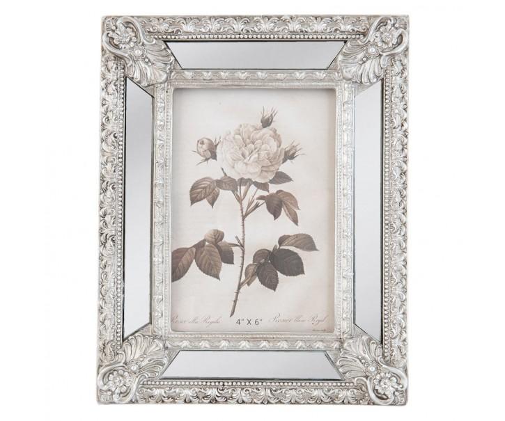 Stříbrný fotorámeček s ornamenty - 18*3*23 cm / 10*15 cm