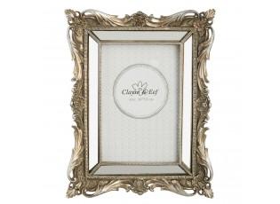 Fotorámeček stříbrný antique s ornamenty - 18*3*22 cm / 10*15 cm