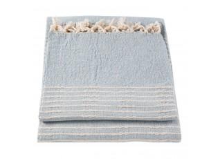 Modrý bavlněný pléd s třásněmi - 150*180 cm