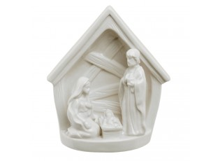 Bílý porcelánový Betlém - 14*10*16 cm
