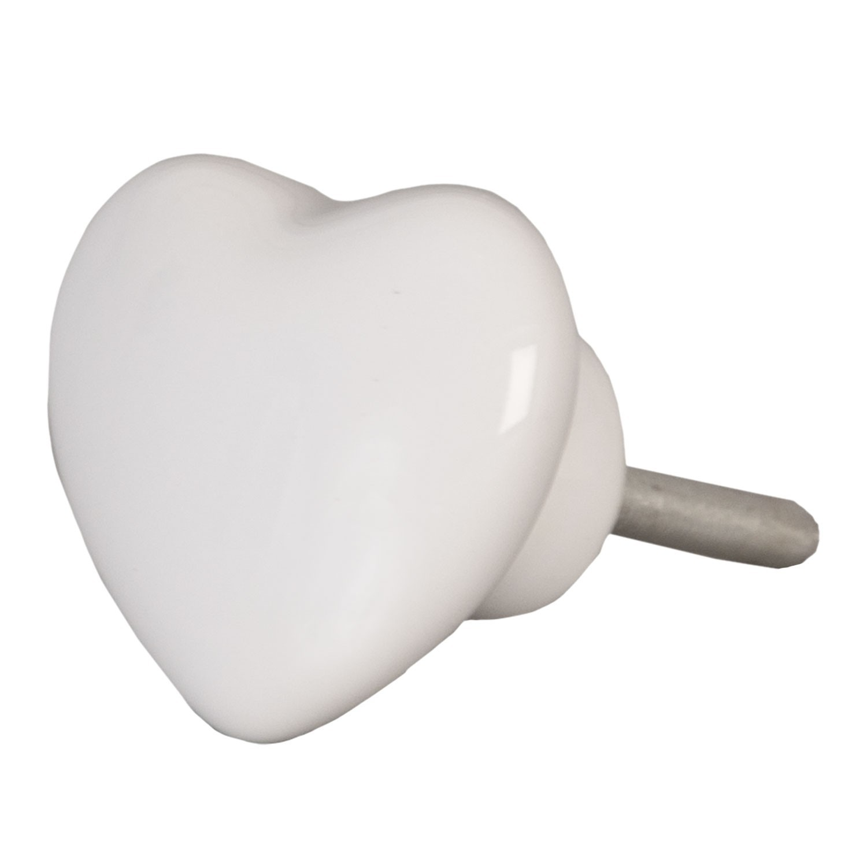 Úchytka bílé srdce - 4*4 cm