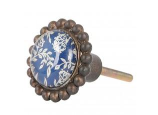 Kovová úchytka retro s modrým vnitřkem -  Ø 4*7 cm