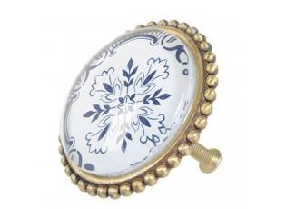 Kovová úchytka retro s modrým ornamentem -  Ø 5*5 cm