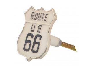 Bílá kovová úchytka s patinou Route 66 -  4*6*5 cm