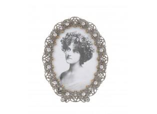 Stříbrný fotorámeček s ornamenty a perličkami - 12*16 cm