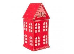 Červený keramický domeček na čajovou svíčku - 11*10*23 cm