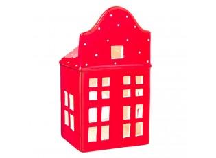 Červený keramický domeček na čajovou svíčku -  10*8*19 cm