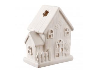Bílý keramický domeček na čajovou svíčku -  11*7*14 cm