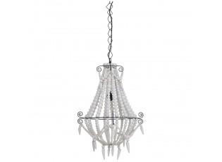 Závěsné světlo Lyna dřevěné bílé korálky - Ø42*56 cm