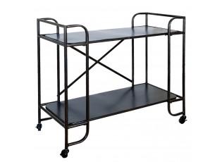 Černý kovový vozík na kolečkách -  100*47*91 cm