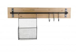 Závěsný věšák s košíkem a háčky - 83*13*42 cm