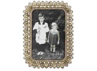 Kovový zlatý fotorámeček s kamínky - 14*20 cm / 10*15 cm