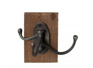 Černý kovový háček s dřevěnou deskou -  8*12*13 cm