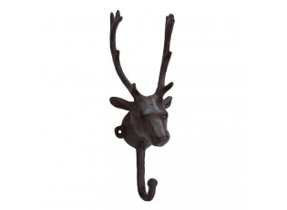 Hnědý kovový háček s hlavou jelena -  8*8*24 cm