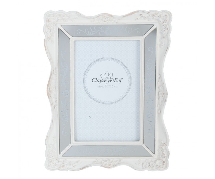 Bílý fotorámeček s patinou a zrcátky - 17*2*22 cm / 10*15 cm