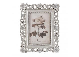 Fotorámeček s kytičkami antik silver -  18*2*22 cm / 10*15 cm