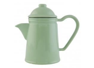 Retro konvička na čaj Enamel Look green - 19*10*17 cm / 0,6 L