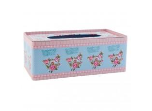 Plechový zásobník na kapesníčky růžový  25*13*9 cm