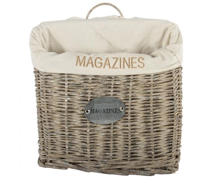 Bílý proutěný závěsný košík na noviny a časopisy přírodní