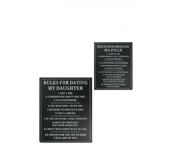 Oboustranná plechová cedule Pravidla - 35*26 cm