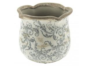 Keramický obal na květináč s ornamenty - Ø 15*14 cm