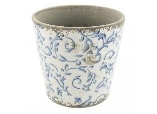 Keramický obal na květináč s ornamenty -  Ø 14*13 cm