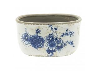 Keramický obal na květináč s květinami -  22*12*13 cm
