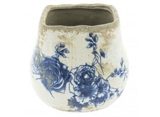 Keramický obal na květináč s květinami -  Ø 14*13 cm
