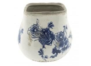 Keramický obal na květináč s květinami - Ø 17*16 cm