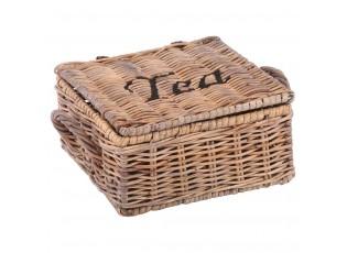 Ratanový zásbník na čaj - 4 přihrádky - 19*19*10 cm