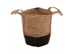 Přírodní - černý jutový koš s uchy - Ø30*30 cm