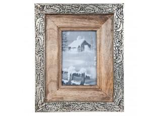 Dřevěný fotorámeček s kovoým lemováním - 28*28 cm / 13*18 cm