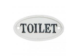 Bílá litinová cedulka Toilet - 10*5 cm