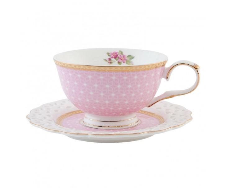Růžový šálek s podšálkem , pozlacený -  0.2 L