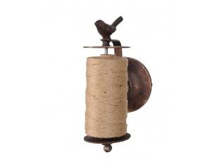 Nástěnný liitinový držák  na provázek  s ptáčkem - 23*11*13 cm