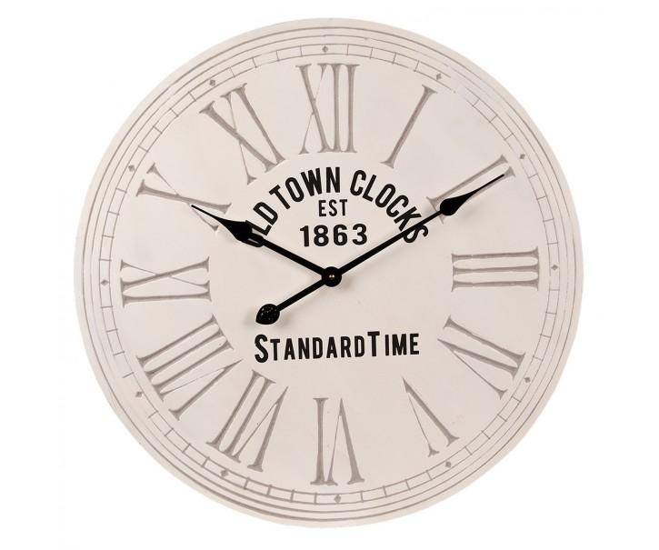 Bílé dřevéné nástěnné hodiny Old tonw clocks - Ø 60*4 cm