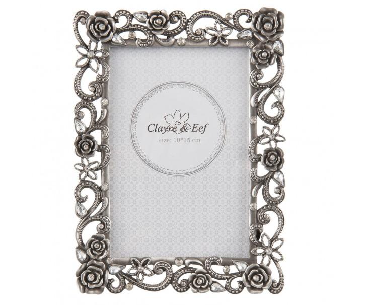 Stříbrný kovový fotorámeček s růžičkami - 15*20 cm / 10*15 cm