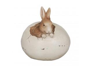 Velikonoční dekorace zajíček ve vajíčku - 9*7*9 cm