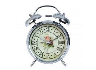 Vintage budík Roses stříbrný - Ø 12*15 cm