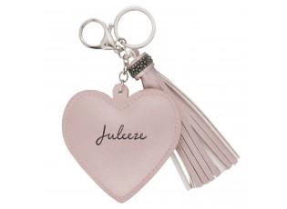 Přívěsek na klíče Heart tassel pink