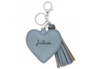 Přívěsek na klíče Heart tassel blue