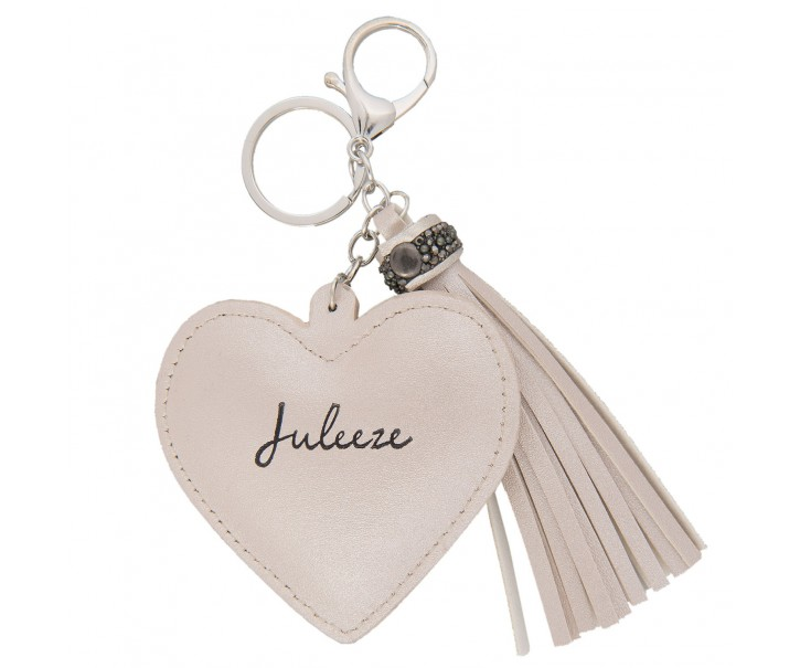 Přívěsek na klíče Heart tassel white