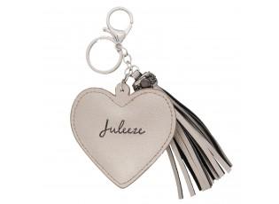 Přívěsek na klíče Heart tassel silver