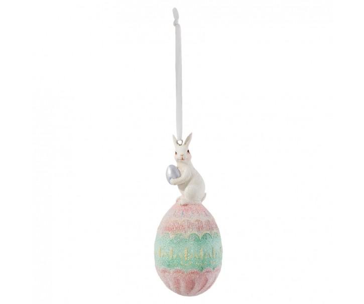 Barevné velikonoční vajíčko se zajíčkem - Ø 5*13 cm