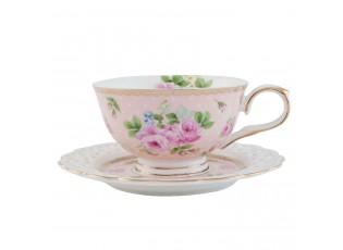 Šálek s podšálkem Rose Gold pink -  13*10*6 cm / 0,15 L