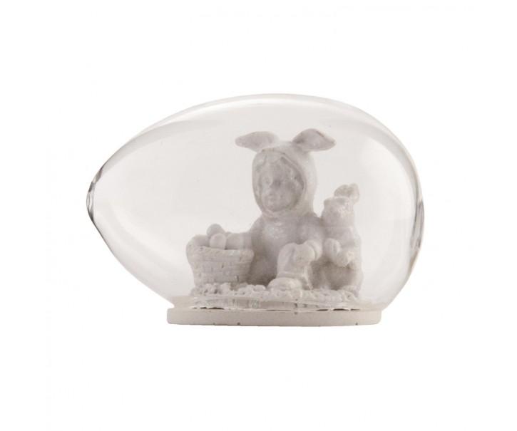 Velikonoční dekorace vajíčko se zajíčkem - 8*6 cm