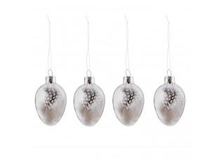 Závěsná dekorace vajíčko s peříčky (set 4ks) - Ø 4*7 cm
