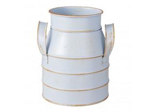Dekorační modrá plechová konev - 13*12*15 cm