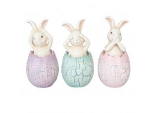 Dekorace zajíčci ve vajíčku (set 3 ks) - Ø6*13cm